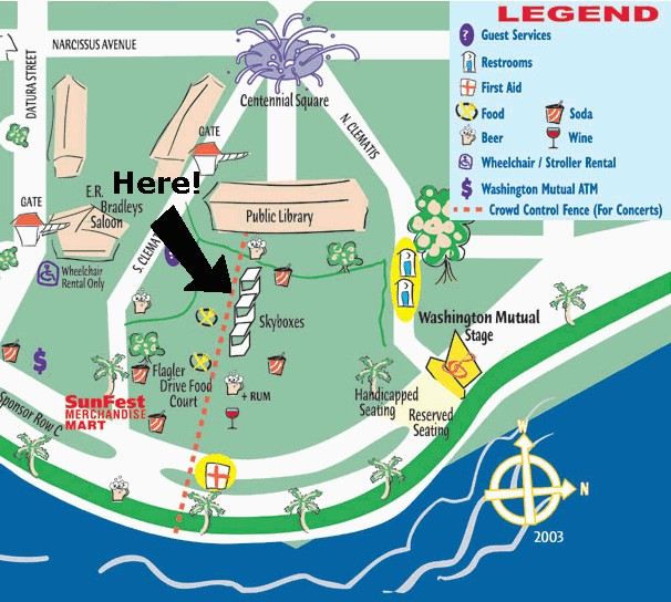 Map of Sunfest--See where the Skyboxes are?